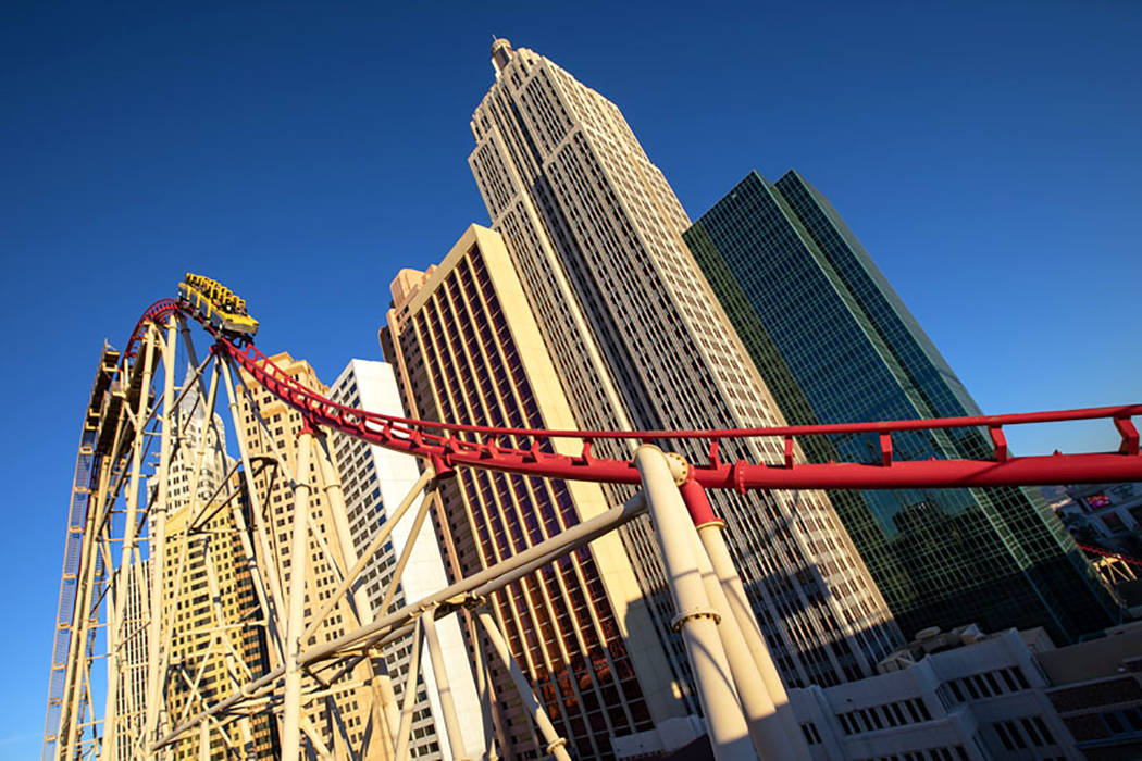 The roller coaster outside of New York New York on the Las Vegas Strip on Sunday, Dec. 2, 2018. The Dow Jones U.S. Gambling Index, which consists of the top Las Vegas gambling stocks, tumbled 33 p ...