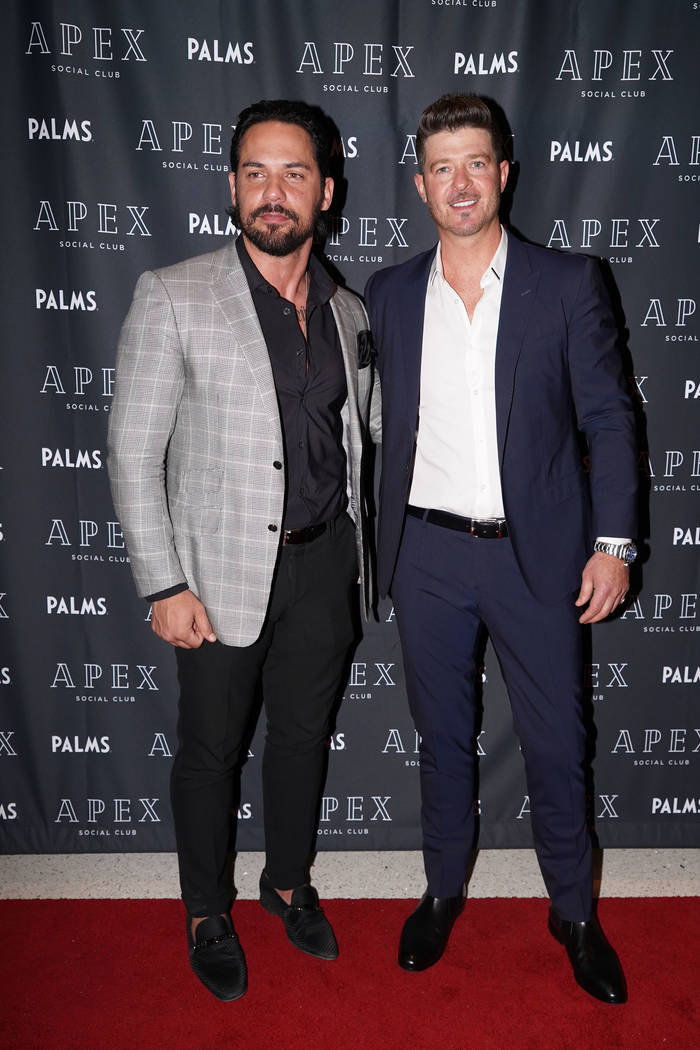 "Robin Thicke is shown with Jason ""JRoc"" Craig of Clique Hospitality at Apex Social Club at the Palms on Saturday, Dec. 29, 2018. (Michael Simon/startraksphoto.com)"
