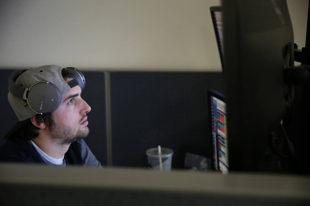 Don Best Sports analyst David Lieberman does in-game trading in his Las Vegas office Thursday, Sept. 27, 2018. K.M. Cannon Las Vegas Review-Journal @KMCannonPhoto