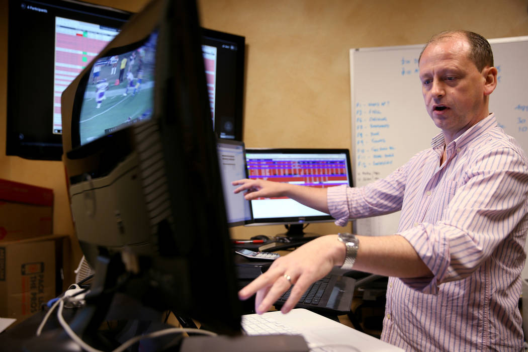 Don Best Sports Trading Director Craig Mucklow does in-game trading for the Los Angeles-Minnesota NFL game at his Las Vegas office Thursday, Sept. 27, 2018. K.M. Cannon Las Vegas Review-Journal @K ...