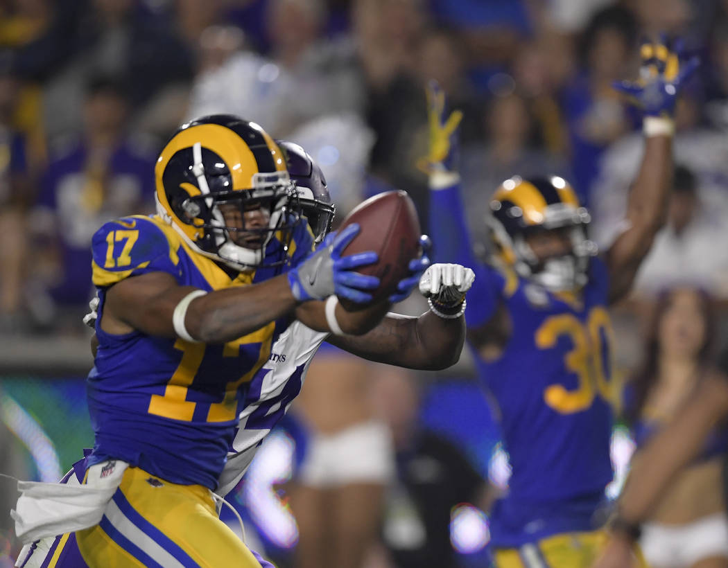 Los Angeles Rams wide receiver Robert Woods celebrates after scoring against the Minnesota Vikings during the second half in an NFL football game Thursday, Sept. 27, 2018, in Los Angeles. (AP Phot ...