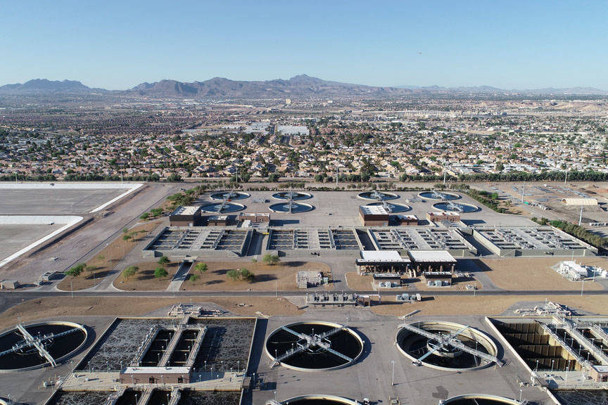 A drone photo from 2018 shows the Flamingo Water Resource Center, the largest sewage treatment plant in Nevada. The Clark County Water Reclamation District officials are seeking a sewer rate hike, ...