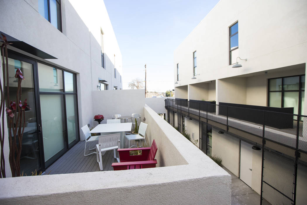 A view of residential units at The Lucy, a multipurpose creative residency created by Beverly Rogers that will also be the home to the Writers Block bookstore, in downtown Las Vegas on Wednesday, ...