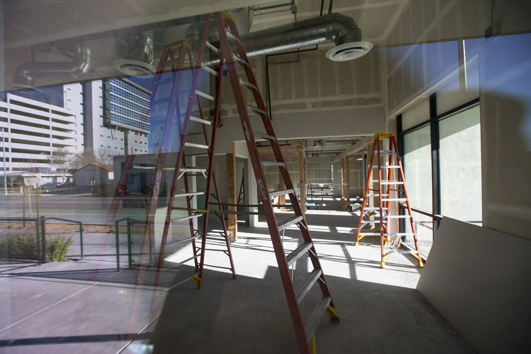 A view of the Writer's Block space under construction at The Lucy, a multipurpose creative residency created by Beverly Rogers that will also be the home to the bookstore, in downtown Las Vegas on ...