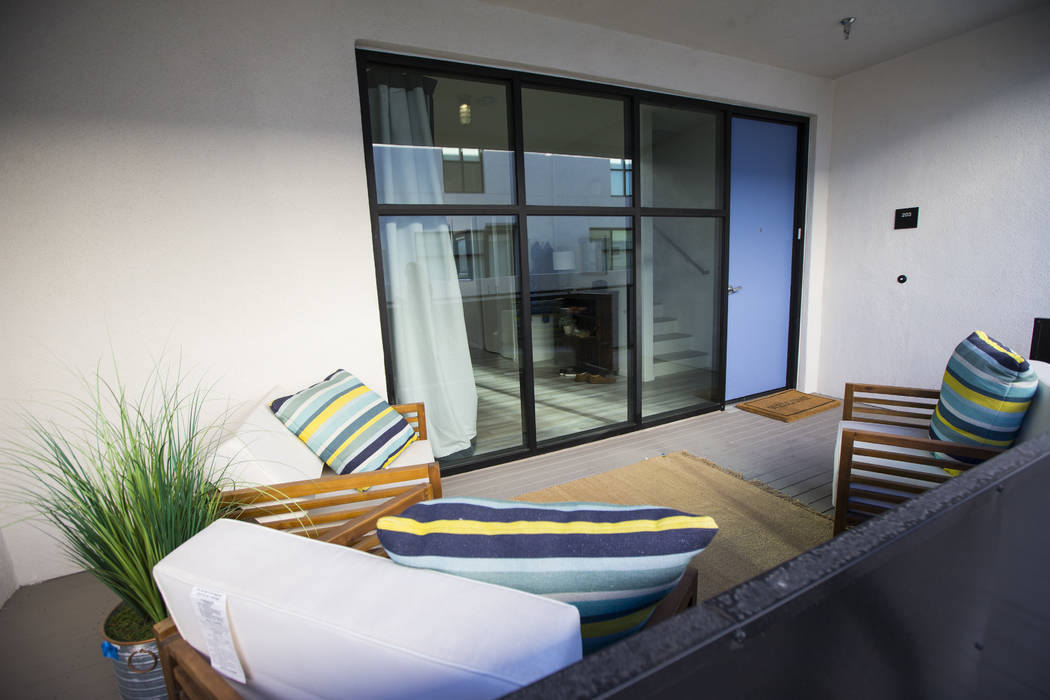 A view of a residential unit at The Lucy, a multipurpose creative residency created by Beverly Rogers that will also be the home to the Writers Block bookstore, in downtown Las Vegas on Wednesday, ...