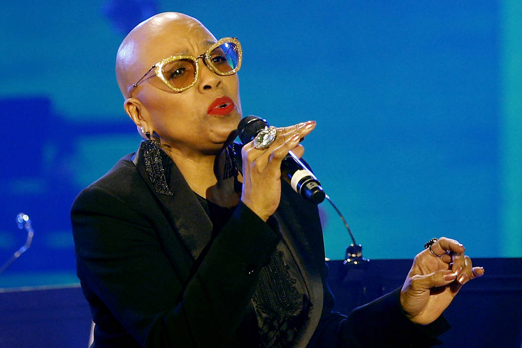 U.S. jazz singer Dee Dee Bridgewater performs at the U.N.'s culture agency UNESCO in Paris, France on Thursday, April 30, 2015. (AP Photo/Christophe Ena)
