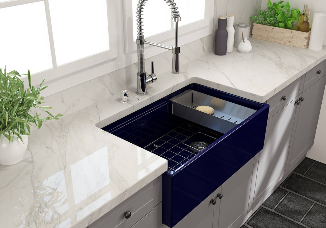 Italian sink designer and manufacturer Bocchi recently entered the U.S. market with its fireclay farmhouse kitchen sinks that have diverse color options, including sapphire blue. (Bocchi)