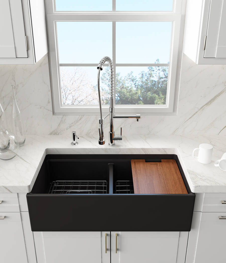 While single basins are growing in popularity, some people still prefer a dual basin, such as Bocchi's Contempo fireclay farmhouse sink. (Bocchi)
