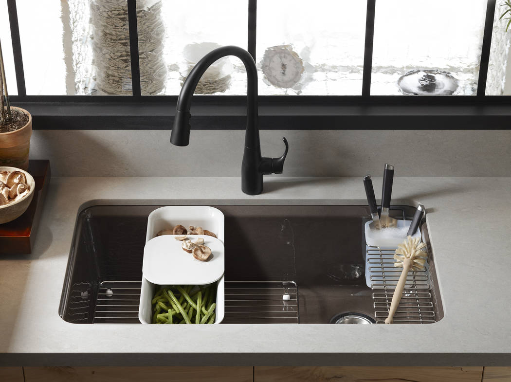 Kohler's Riverby sink makes a versatile addition to the kitchen. A single, large bowl provides ample space to soak and wash cookware, while a sloped base to a single offset drain minimizes water p ...