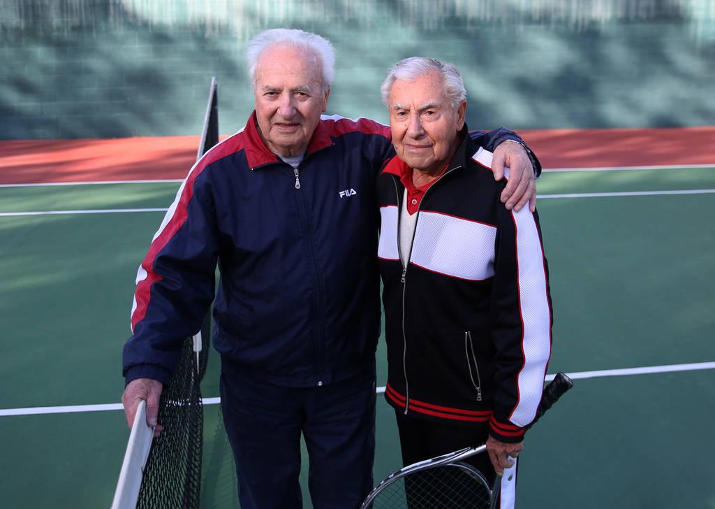 Janos Strauss, 90, left, and Alexander Kuechel, 94, both Holocaust survivors, pose for a photo at Mountain Shadows Community Center on Thursday, Dec. 20, 2018, in Las Vegas. Bizuayehu Tesfaye Las ...