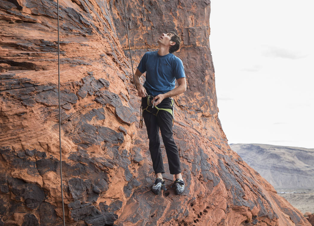 Alex Honnold prepares to climb at The Gallery at Red Rock Canyon on Monday, Dec. 17, 2018, in Las Vegas. Honnold, arguably the best rock climber in the world, solo climbed El Capitan, a 3,000-foot ...