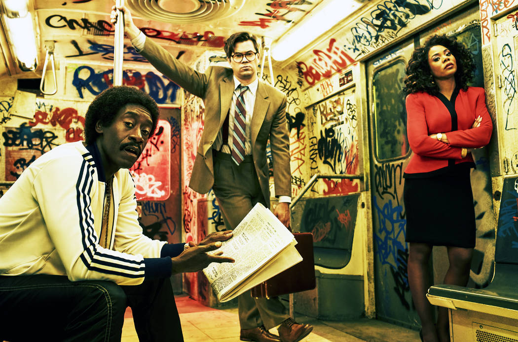 """Don Cheadle as Mo, Andrew Rannells as Blair and Regina Hall as Dawn in """"Black Monday."""" (Miller Mobley/Showtime)"""