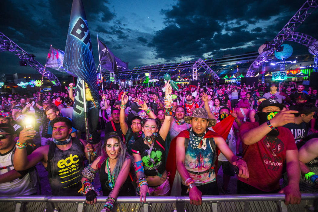 Attendees dance as Dateless performs at the Stereobloom stage during the third day of the Electric Daisy Carnival at the Las Vegas Motor Speedway in Las Vegas on May 20, 2018. Chase Stevens Las Ve ...