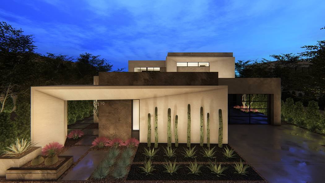 Pictured is a rendering of the Trace model at Blue Heron's new Vantage collection in Lake Las Vegas. (Blue Heron)