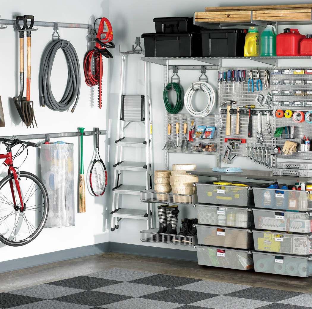 Container Store Elfa utility boards are an ideal solution for keeping everyday tools and hardware visible and accessible in the garage. Boards can be mounted directly to the wall or used with shel ...