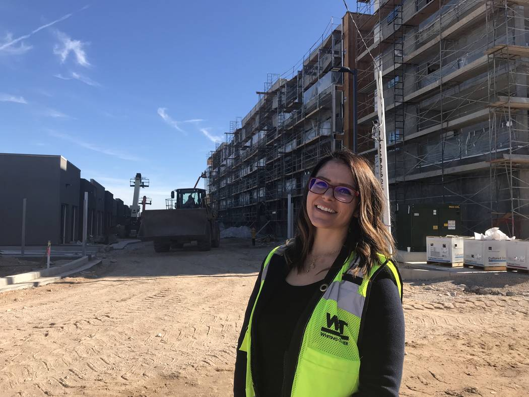 Jeffrey Meehan/Special to the Las Vegas Business Press Kelly Kwasniewski, development logistics at Tru Development Co. in Las Vegas, stands at the site of the company's Kaktus Life apartment proje ...