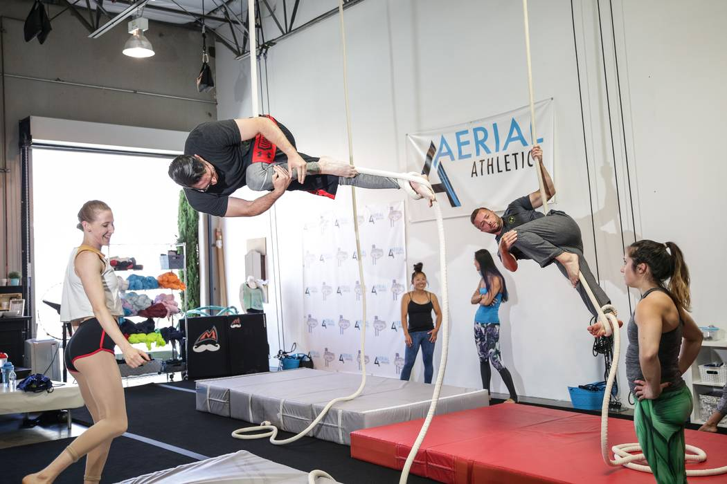 Students practice rope at Aerial Athletica in Las Vegas, which offers classes in aerial acrobatics taught by current and former performers. (Courtesy of Aerial Athletica)