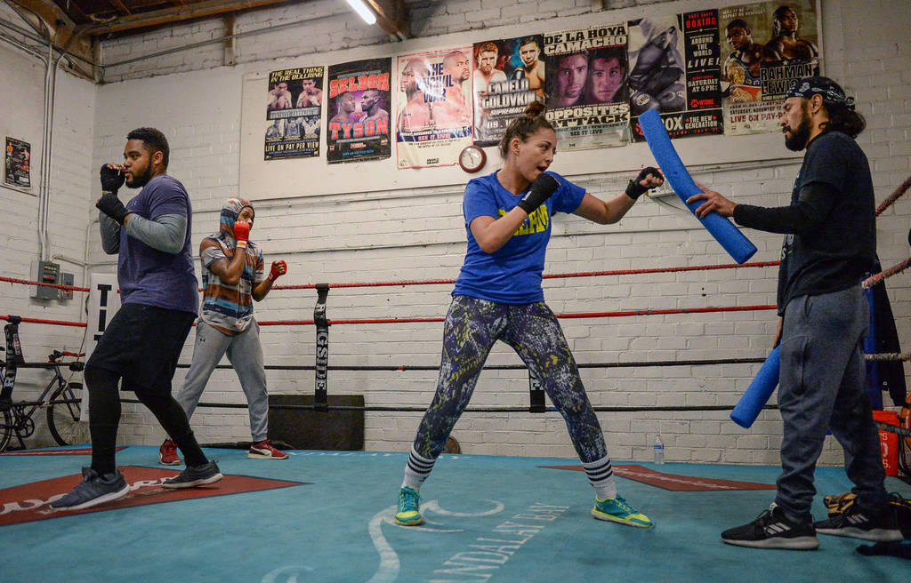Isaiah Braxton, left, Stephen Wright, Naouel Bourbia and Rodrigo Aranda work out at Johnny Tocco's Ring Side Boxing Gym in Las Vegas, Thursday, Dec. 27, 2018. Caroline Brehman/Las Vegas Review-Journal
