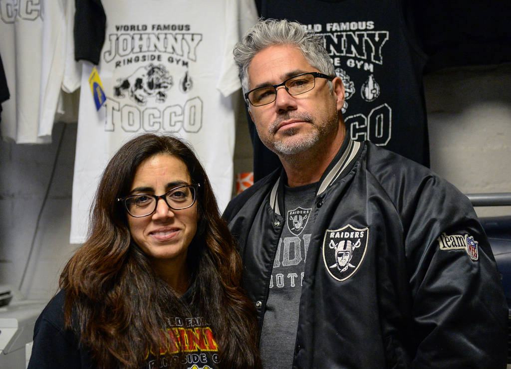 Co-owners Elizabeth Benitez-Smith, left, and Jimmy Smith pose for a photograph at Johnny Tocco's Ring Side Boxing Gym in Las Vegas, Thursday, Dec. 27, 2018. Caroline Brehman/Las Vegas Review-Journal