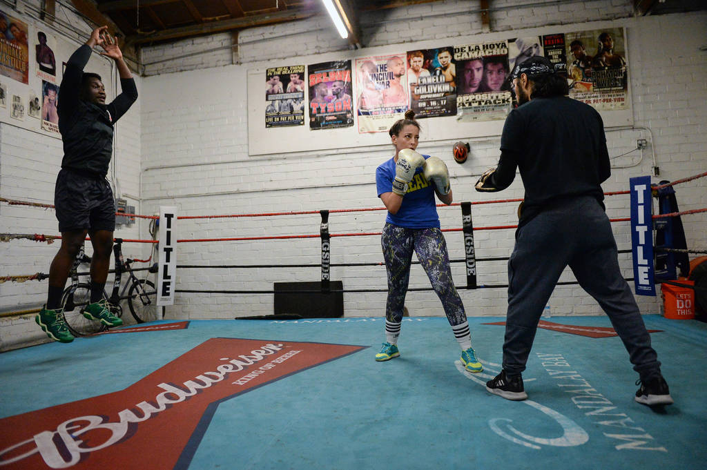 Emmanuel Adeyemi, left, Naouel Bourbia and Rodrigo Aranda work out at Johnny Tocco's Ring Side Boxing Gym in Las Vegas, Thursday, Dec. 27, 2018. Caroline Brehman/Las Vegas Review-Journal