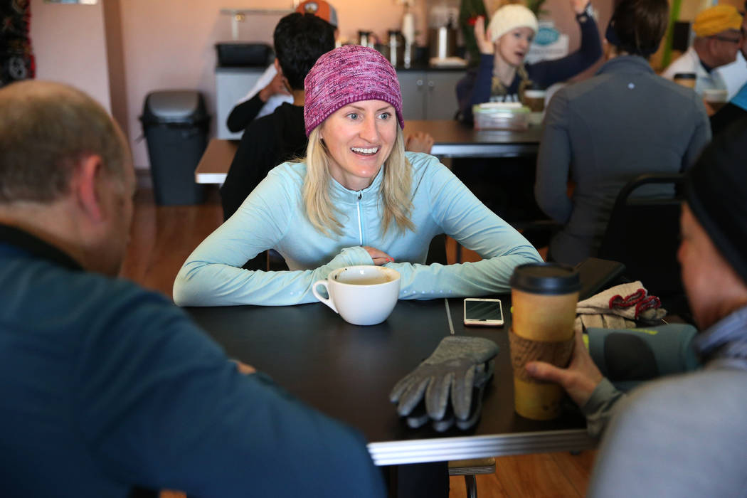 Kat Walsh talks to other runners at Hi Coffee Cafe in Henderson after their morning run as part of a meetup group, Saturday, Dec. 29, 2018. Erik Verduzco Las Vegas Review-Journal @Erik_Verduzco