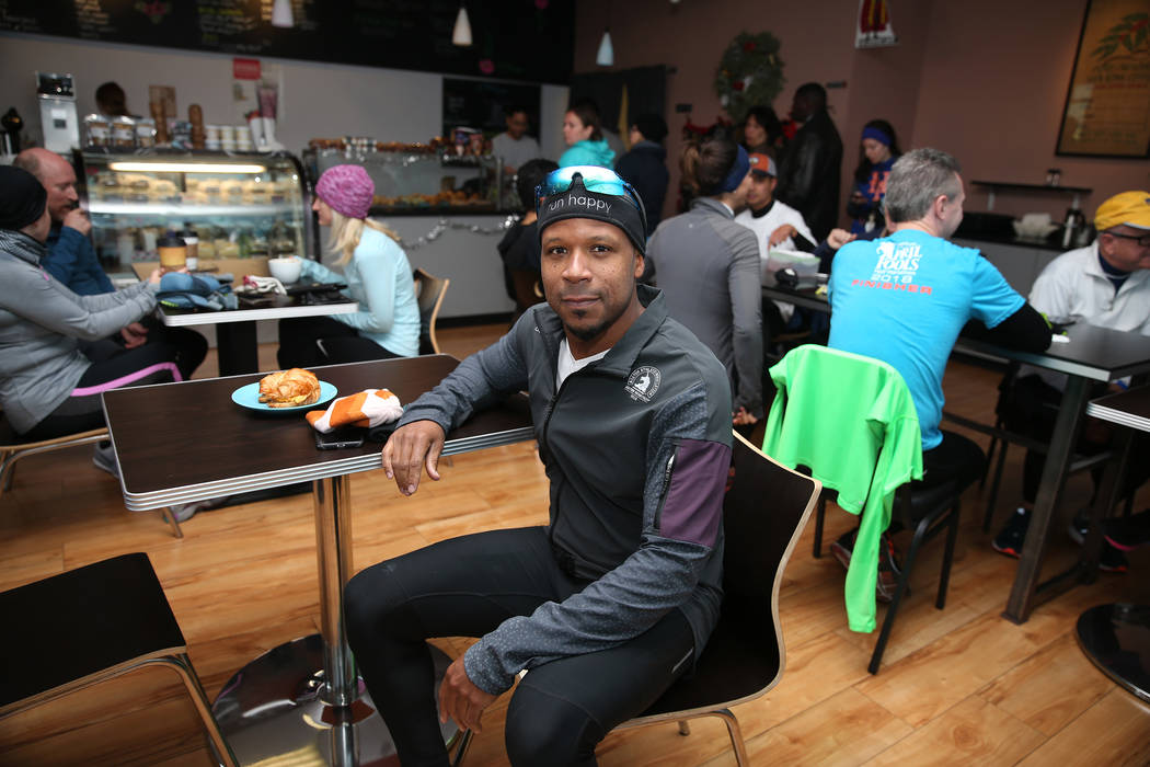 Jeremy Wallace, 40, of Las Vegas, poses after his morning run with his meetup group at Hi Coffee Cafe in Henderson, Saturday, Dec. 29, 2018. Erik Verduzco Las Vegas Review-Journal @Erik_Verduzco