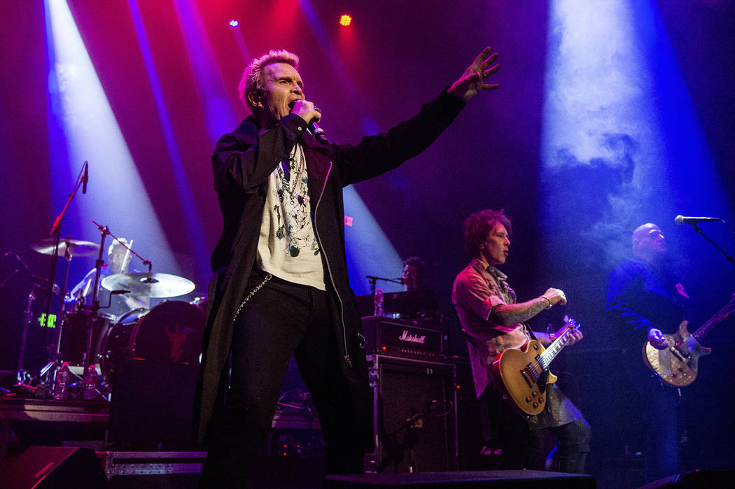 "Billy Idol performs at the ""Above Ground"" Benefit Concert at Belasco Theater on Monday, April 16, 2018, in Los Angeles. (Photo by Amy Harris/Invision/AP)"
