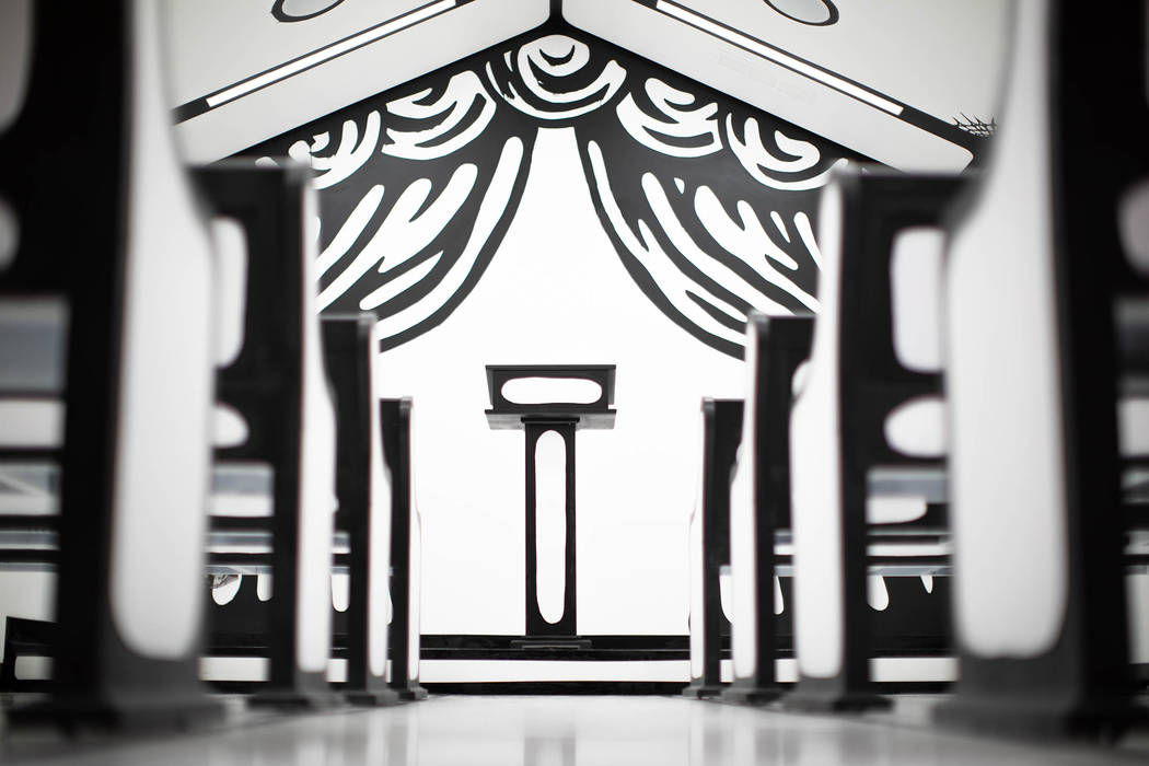 """Artist Joshua Vides created a """"White Wedding"""" chapel at Pearl Theater at the Palms in time for Billy Idol's Las Vegas residency. Clint Jenkins"""