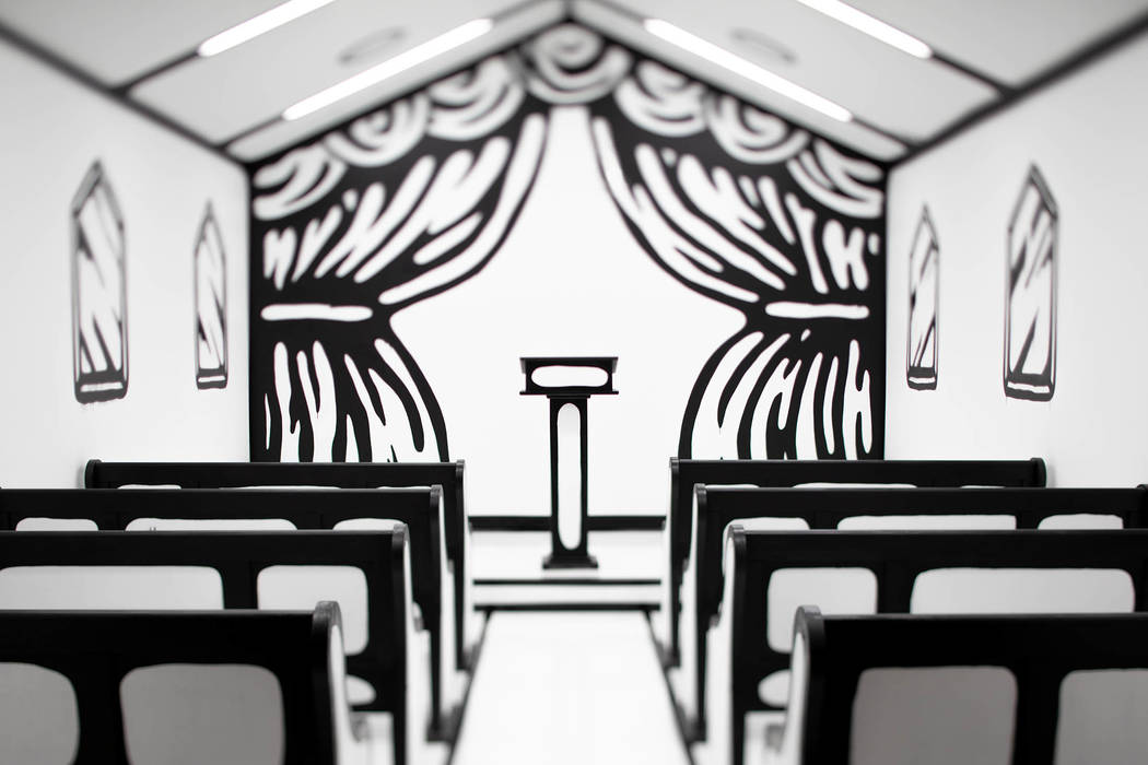 "Artist Joshua Vides created a ""White Wedding"" chapel at Pearl Theater at the Palms in time for Billy Idol's Las Vegas residency. Clint Jenkins"
