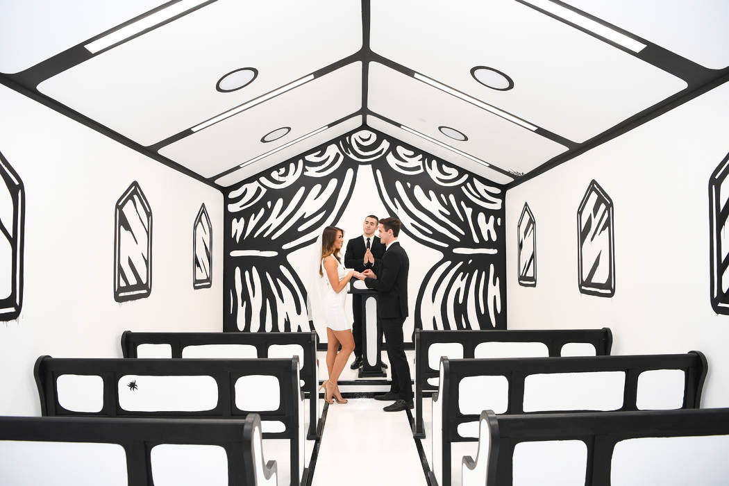 You can get married in the White Wedding chapel at Pearl Theater at the Palms in Las Vegas Photos By Denise Truscello