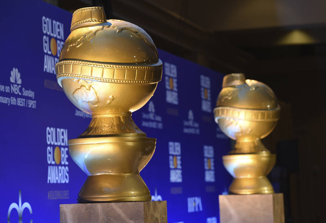 Golden Globe statues appear on stage prior to the nominations for the 76th Annual Golden Globe Awards at the Beverly Hilton hotel on Thursday, Dec. 6, 2018, in Beverly Hills, Calif. The 76th annua ...