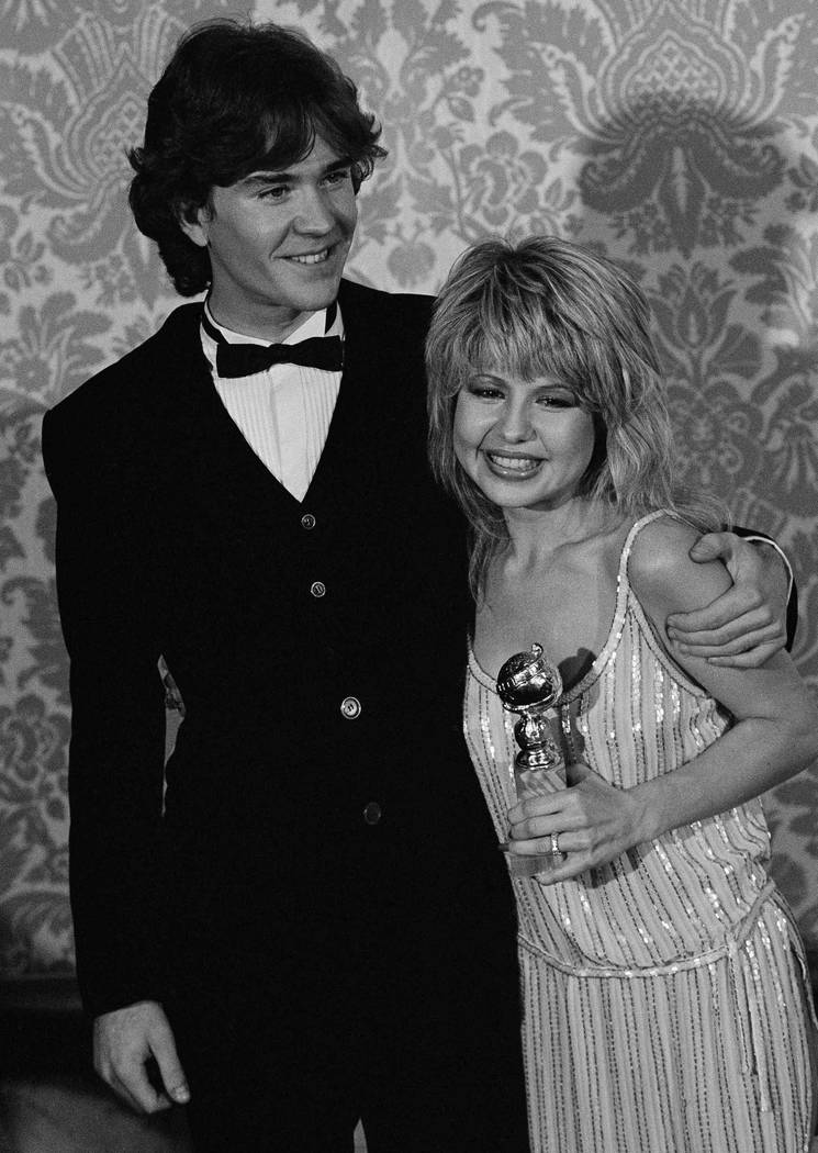 Actress Pia Zadora poses with Timothy Hutton, after her award in Beverly Hills, on Jan. 31, 1982 for being the new motion picture star of the year during the 39th annual Golden Globes presentation ...