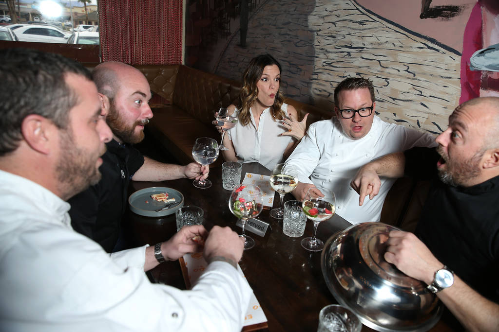 Chefs from left, Daniel Krohmer, Justin Hall, Jolene Mannina, Brian Howard, and Josh Clark, pose for a photo at EDO Gastro Tapas and Wine Restaurant in Las Vegas, Thursday, Dec. 27, 2018. Erik Ver ...