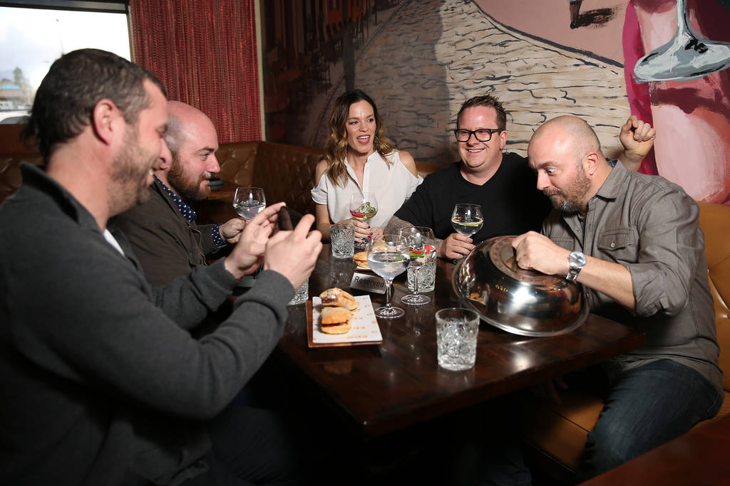 Chefs from left, Daniel Krohmer, Justin Hall, Jolene Mannina, Brian Howard, and Josh Clark, pose for a photo at EDO Gastro Tapas and Wine Restaurant in Las Vegas, Thursday, Dec. 27, 2018. Erik Ver ...