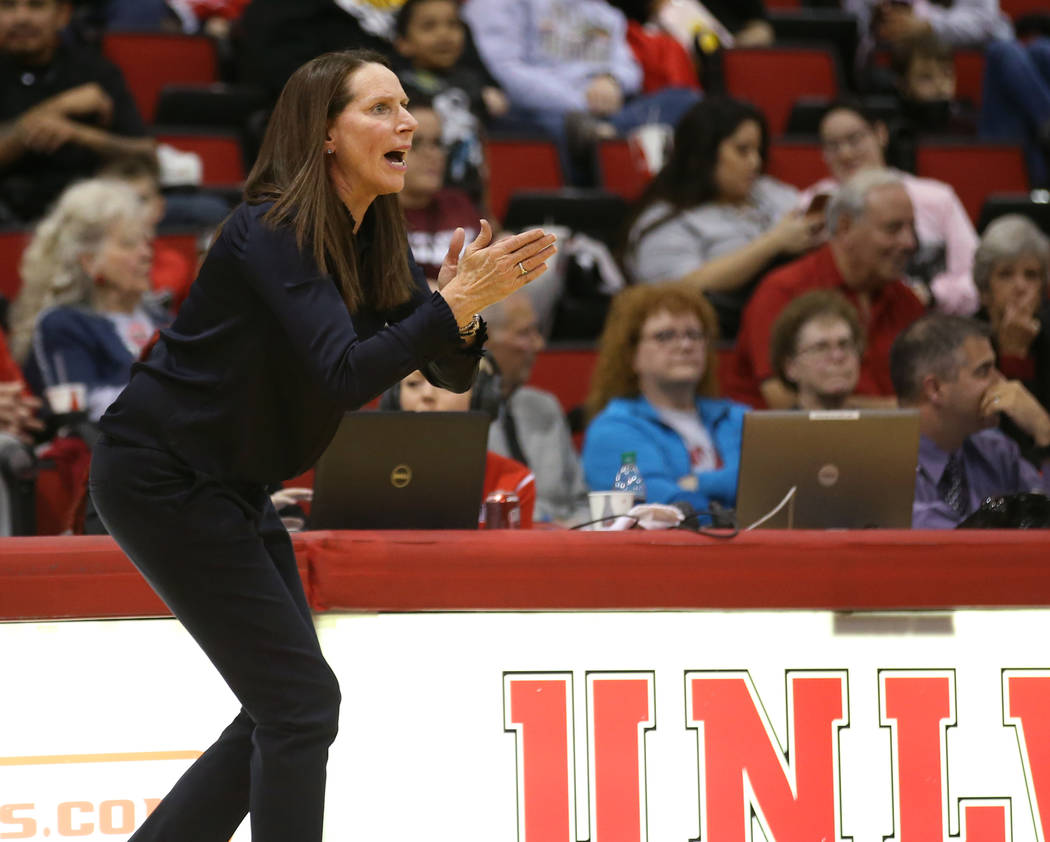 UNLV Lady Rebels head coach Kathy Olivier instructs her team against San Jose State Spartans in the third quarter at the Cox Pavilion in Las Vegas Wednesday, Jan. 3, 2018. K.M. Cannon Las Vegas Re ...