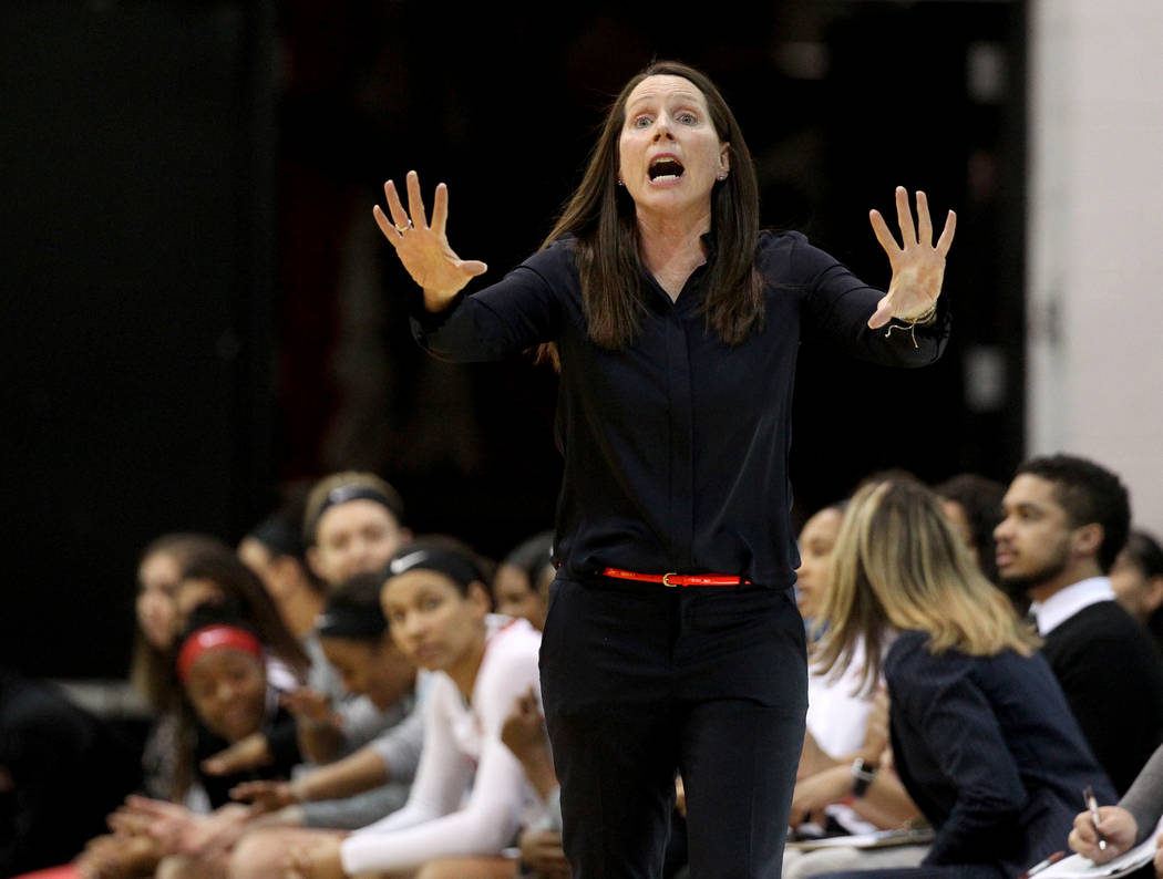 UNLV Lady Rebels head coach Kathy Olivier instructs her team against the San Jose State Spartans in the first period at the Cox Pavilion in Las Vegas Wednesday, Jan. 3, 2018. K.M. Cannon Las Vegas ...