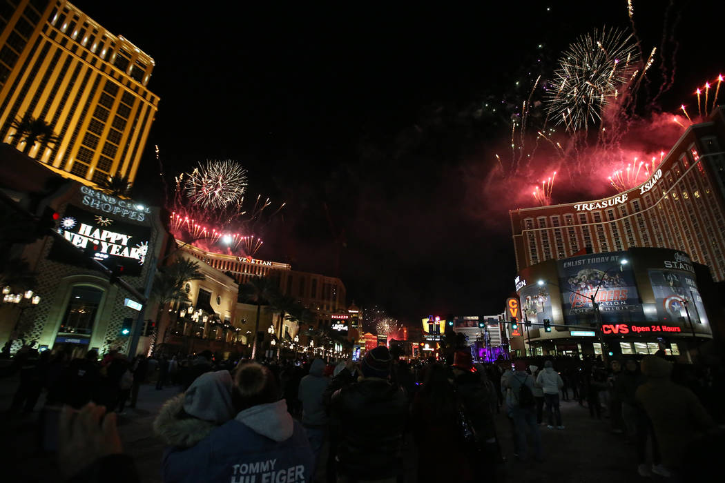 Fireworks explode over the Strip to ring in the new year in Las Vegas Tuesday, Jan. 1, 201. K.M. Cannon Las Vegas Review-Journal @KMCannonPhoto
