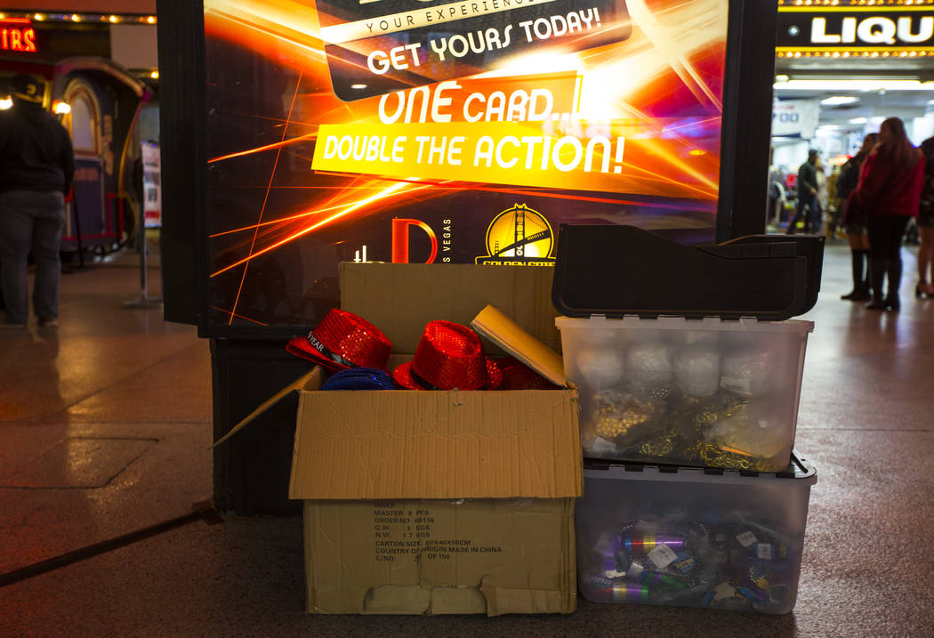 A variety of New Year's Eve apparel sits in a box at the Fremont Street Experience in downtown Las Vegas on Monday, Dec. 31, 2018. Chase Stevens Las Vegas Review-Journal @csstevensphoto