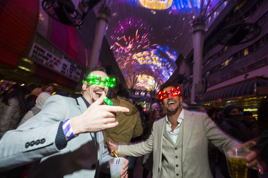 Revelers celebrate the new year at the Fremont Street Experience in downtown Las Vegas on Tuesday, Jan. 1, 2019. Chase Stevens Las Vegas Review-Journal @csstevensphoto