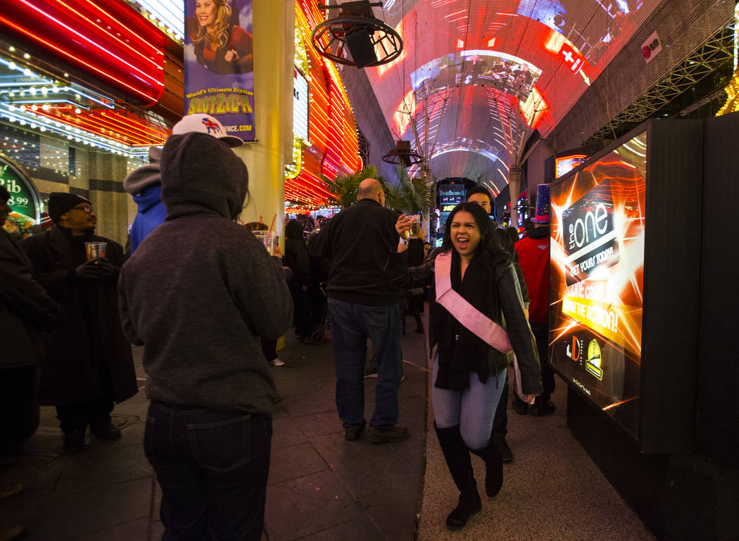 New Year's Eve revelers gather at the Fremont Street Experience in downtown Las Vegas on Monday, Dec. 31, 2018. Chase Stevens Las Vegas Review-Journal @csstevensphoto