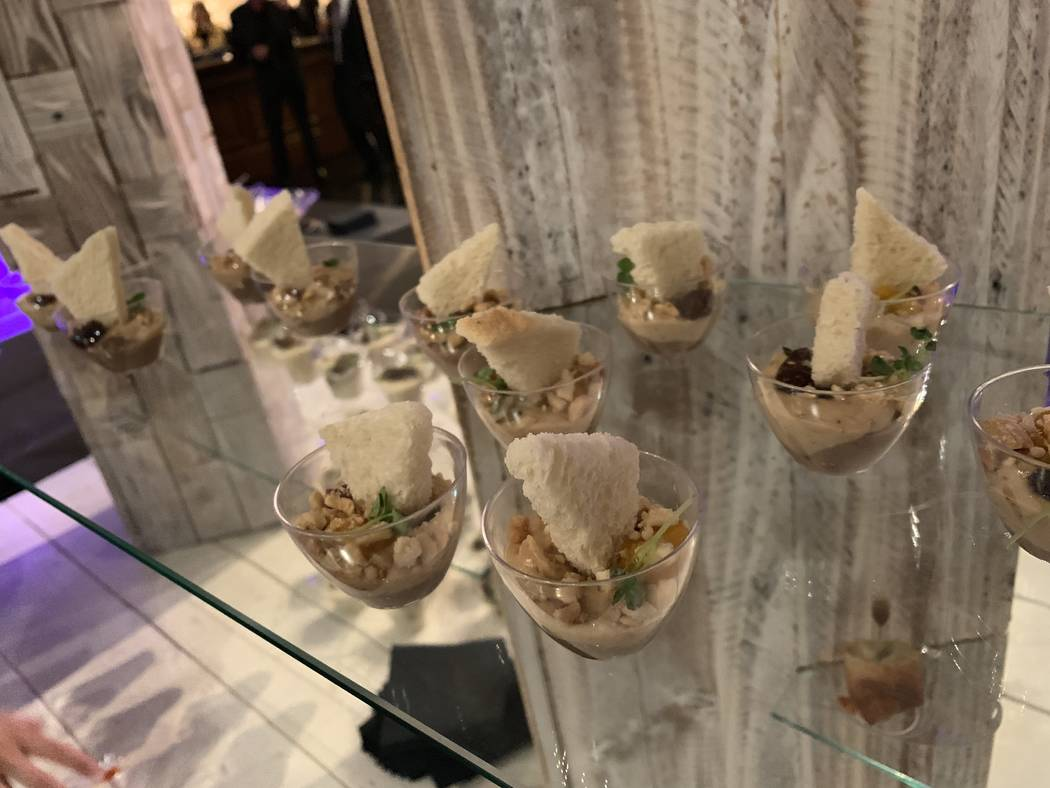 Some of the food for guests is shown at the re-opening party at Stirling Club at Turnbery Place on Dec. 31, 2018. (Mat Luschek/Las Vegas Review-Journal)