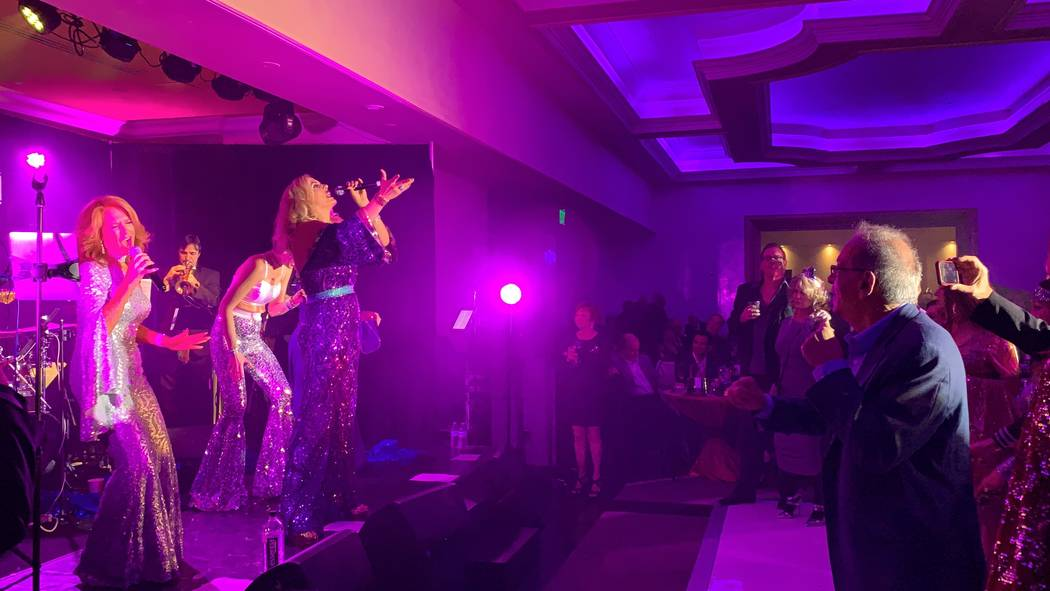 The ABBA-styled act featuring Kelly Clinton-Holmes, Kirbi Long, Ashley Fuller and Elisa Fiorillo is shown shown at the club's re-opening party at Turnbery Place on Dec. 31, 2018. (Mat Luschek/Las ...