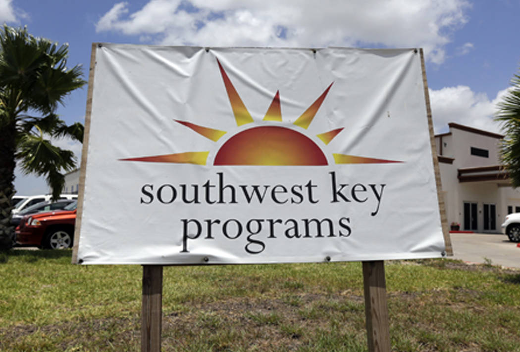A Southwest Key program sign on June 20, 2014. Arizona authorities said Monday, Dec. 31, 2018, they sent prosecutors the results of an investigation into a now-shuttered shelter for immigrant chil ...