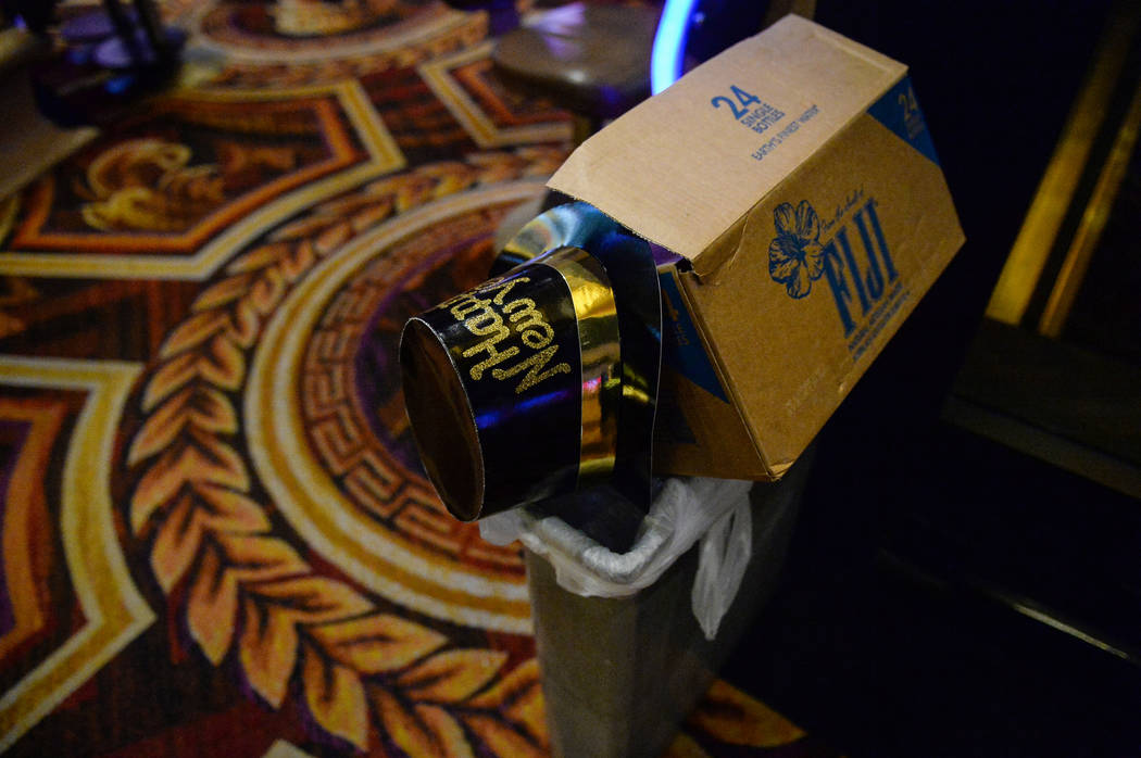 A New Year's Eve hat sits in a trash can at Caesar's Palace in Las Vegas, Tuesday, Jan. 1, 2019. Caroline Brehman/Las Vegas Review-Journal