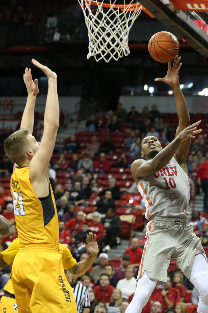 UNLV Rebels forward Shakur Juiston (10) takes a shot against Valparaiso Crusaders during the second half of the basketball game at the Thomas & Mack Center in Las Vegas, Wednesday, Nov. 28, 20 ...