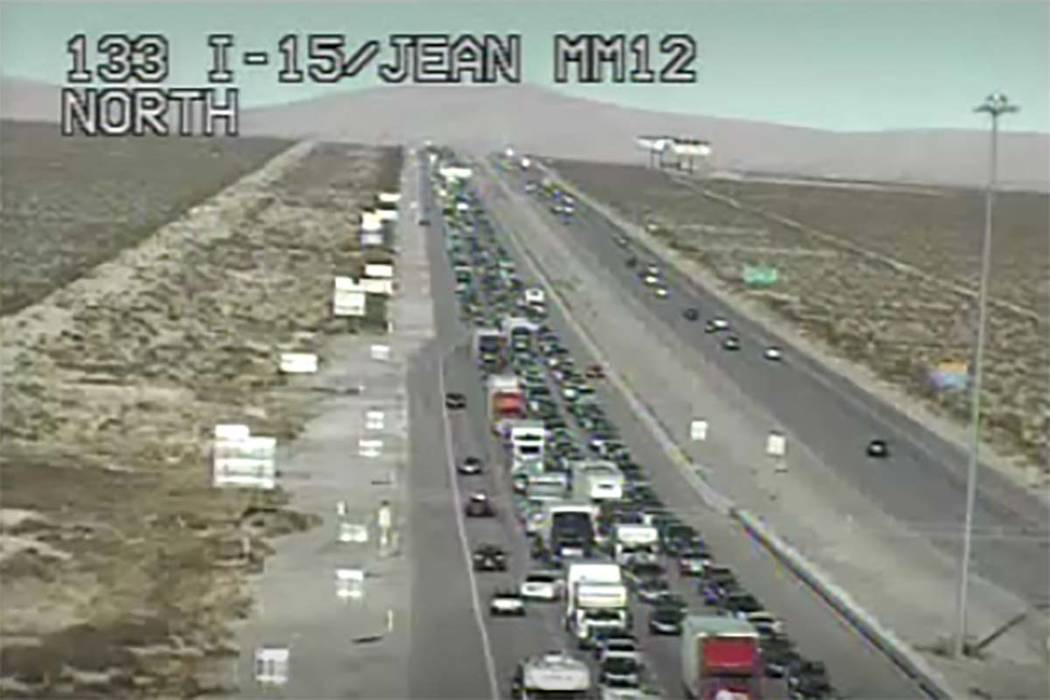 Southbound Interstate 15 traffic is moving slowly on Tuesday, Jan. 1, 2019, as travelers head to California after New Year's celebrations in Las Vegas. (RTC Cameras)