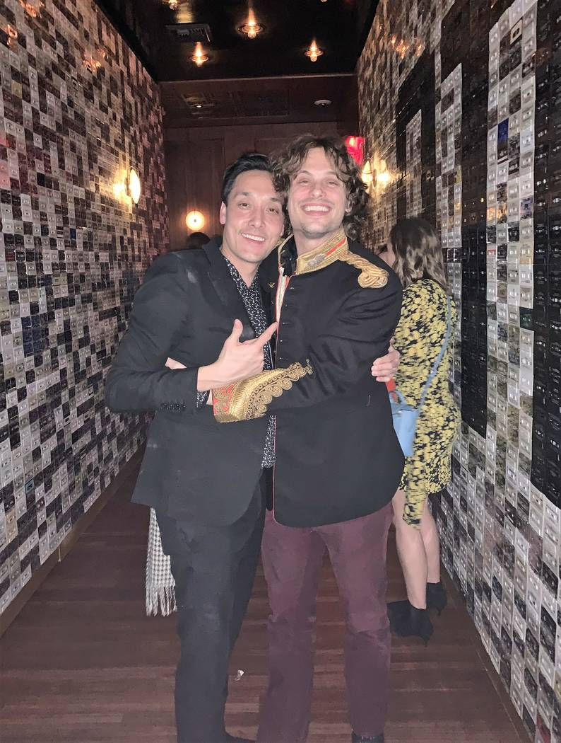 Mart Houston of On The Record at Park MGM is shown with actor Matt Gublar at the club on New Year's Eve 2018. (Tony Tran)