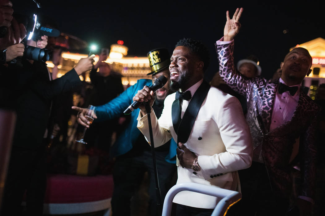 Superstar stand-up comic and actor Kevin Hart celebrates New Year's Eve 2018 at Drai's Nightclub at the Cromwell on the Las Vegas Strip. (Mike Kirschbaum)