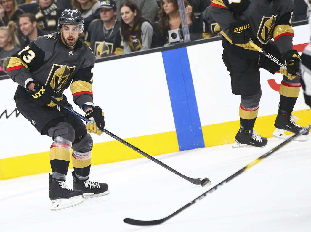 Vegas Golden Knights center Brandon Pirri (73) looks to pass the puck during the first period of an NHL hockey game against the Los Angeles Kings at T-Mobile Arena in Las Vegas on Tuesday, Jan. 1, ...