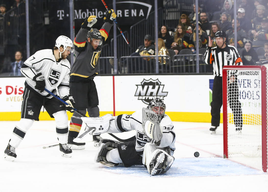 Vegas Golden Knights center Brandon Pirri, not pictured, scores a goal past Los Angeles Kings goaltender Jack Campbell (36) as Golden Knights center Paul Stastny celebrates the goal during the thi ...